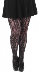 PRE ORDER: Paisley Net Tights - Black