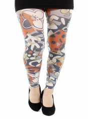 PRE ORDER: Abstract Printed Footless Tights Rust