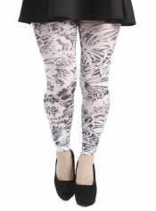 PRE ORDER: Floral Monochrome Printed Footless Tights