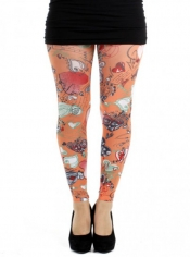 PRE ORDER: Doodle Hearts Printed Footless Tights