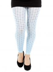 PRE ORDER: Gingham Check Printed Footless Tights - Blue