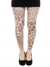 PRE ORDER: Furry Leopard Printed Footless Tights