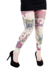 PRE ORDER: Fruit and Face Printed Footless Tights Brown