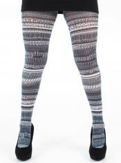 PRE ORDER: Words Printed Tights - Black and White