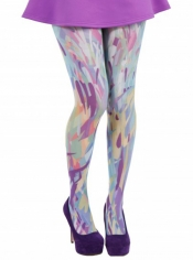 PRE ORDER: Zephyr Printed Tights - Blue and Purple