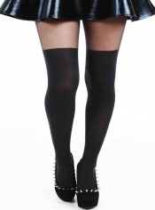 PRE ORDER: Plain Over The Knee Tights - Black