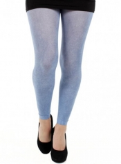 PRE ORDER: Denim Printed Footless Tights - Blue