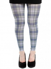 PRE ORDER: Cunningham Tartan Printed Footless Tights - Blue