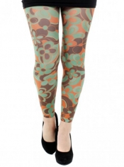 PRE ORDER: Clover Printed Footless Tights - Green