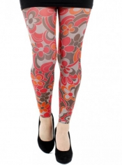 PRE ORDER: Clover Printed Footless Tights - Red