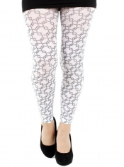 PRE ORDER: Embassy Printed Footless Tights - White