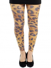 PRE ORDER: Big Leopard Printed Footless Tights Orange