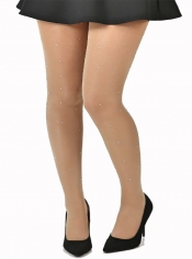PRE ORDER: 15 Denier Diamante Tights - Nude