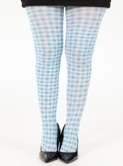 PRE ORDER: Gingham Check Printed Tights - Blue and White