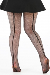 PRE ORDER: Fishnet Seamed Tights - Black with Black