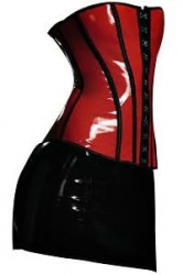 Sexy Vixon PVC Corset Bustier w/ Skirt & G-String – Black & Red