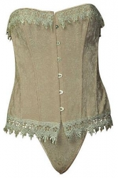 Lovely Light Beige Corset w/ White Crochet Trim