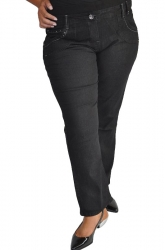 Stylish Stretch Pull-on Straight Leg Embellished Jeans - Black