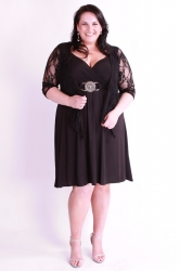 Stunning Black Plus Size Dress w/ Silver Medallion