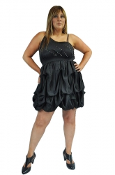 Funky Studded Plus Size Puffball Party Dress - Black
