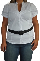 Chic White Pintuck Shirt w/ Black Braided Belt