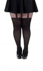 Plain Stripe Suspender Tights - Black
