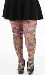 Vibrant Flower Printed Tights - Multicoloured