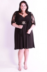 Lovely Lace Stretch Tie Up Shrug - Black