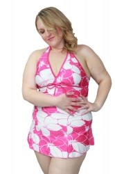 Cute Halter Neck Plus Size Swim Dress –Pink & White Floral Print