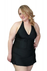 Cute Halter Neck Plus Size Swim Dress – Black