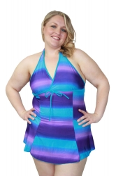 Cute Halter Neck Plus Size Swim Dress – Purple & Blue Wash