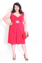 Stunning Red Plus Size Dress w/ Silver Medallion