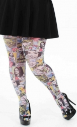Funky Plus Size Comic Book Tights - Multicoloured