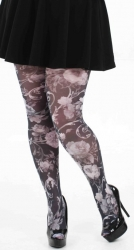 Oriental Floral Printed Tights - Black & White