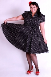 50's Style Short Sleeve Dress- Black w/ White Polka Dots