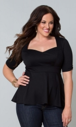 Posh Ponte Peplum Top - Black Noir ------SOLD OUT------