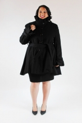 Chic Ruff Neck Fit & Flare Winter Coat w/ Belt -Black