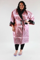 Fab Asian Fusion Reversible Silk Kimono Dressing Gown - Pink