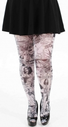 Funky Plus Size Comic Book Tights - Black & White