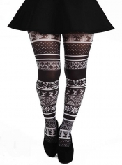 Fairisle Printed Tights - Black & White
