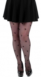 Sheer Crosses Tights - Black