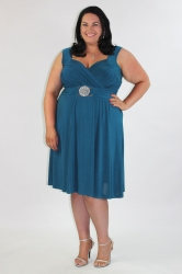 Stunning Teal Plus Size Dress w/ Silver Medallion