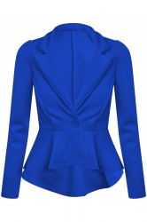 Chic Hi-Lo Tail Back Peplum Jacket - Royal Blue