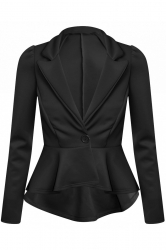 Chic Hi-Lo Tail Back Peplum Jacket - Black