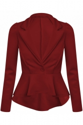 Chic Hi-Lo Tail Back Peplum Jacket - Wine