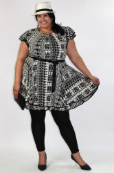 Chic Cap Sleeve Baby Doll Dress/Tunic - Black & White Aztec