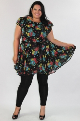 Chic Cap Sleeve Baby Doll Dress/Tunic - Black & Multi Floral