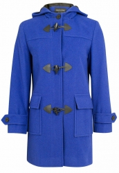 Super Warm Wool & Cashmere Hooded Duffle Coat - Blue
