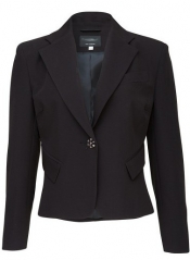 Feminine Short Length Button Detail Jacket - Black