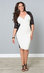 Valentina Illusion Dress - Black & Porcelain